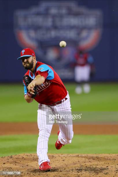 Adam Morgan of the Philadelphia Phillies pitches during the 2018 Little League Classic against the New York Mets at Historic Bowman Field on Sunday...