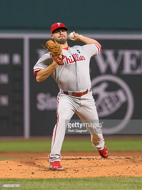 Adam Morgan of the Philadelphia Phillies pitches during the first inning against the Boston Red Sox at Fenway Park on September 4 2015 in Boston...