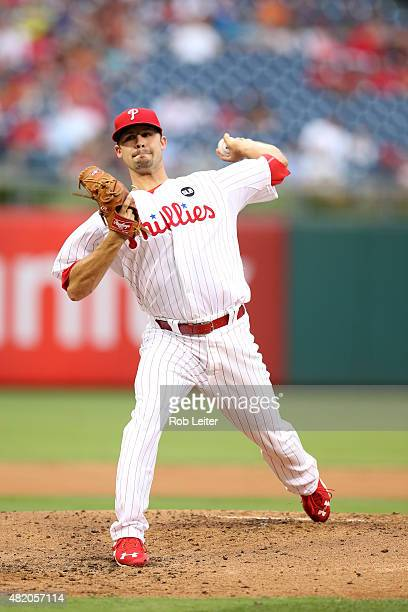 Adam Morgan of the Philadelphia Phillies pitches during the game against the Miami Marlins at Citizens Bank Park on July 17 2015 in Philadelphia PA...