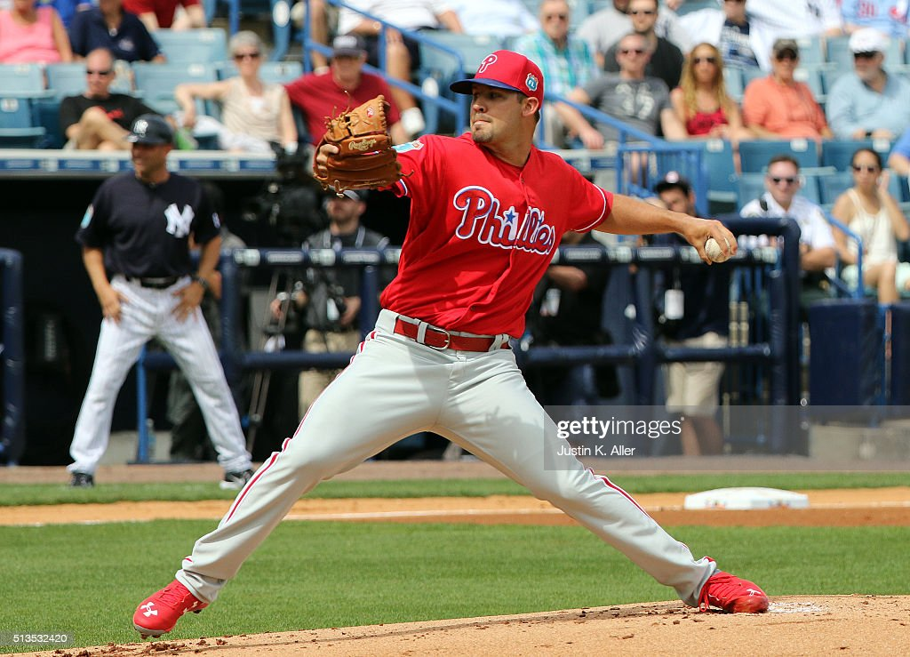 Adam Morgan #39 of the Philadelphia Phillies pitches in the first inning during the game against the New York Yankees at George M. Steinbrenner Field on March 3, 2016 in Clearwater, Florida.