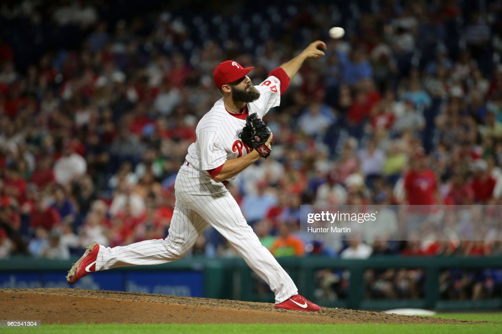 Adam Morgan #46 of the Philadelphia Phillies throws a pitch in the seventh inning during a game against the Toronto Blue Jays at Citizens Bank Park on May 25, 2018 in Philadelphia, Pennsylvania. The Blue Jays won 6-5.