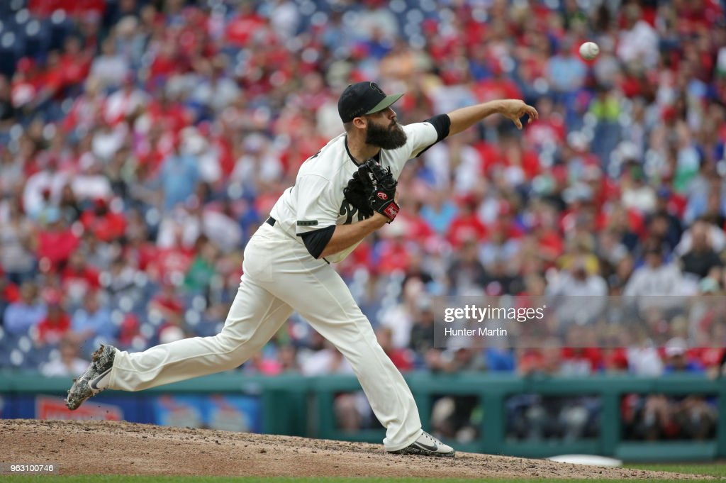 Adam Morgan #46 of the Philadelphia Phillies throws a pitch in the seventh inning during a game against the Toronto Blue Jays at Citizens Bank Park on May 27, 2018 in Philadelphia, Pennsylvania. The Blue Jays won 5-3.