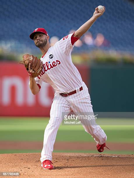 Adam Morgan of the Philadelphia Phillies throws a pitch in the top of the first inning against the Chicago Cubs on September 11 2015 at Citizens Bank...