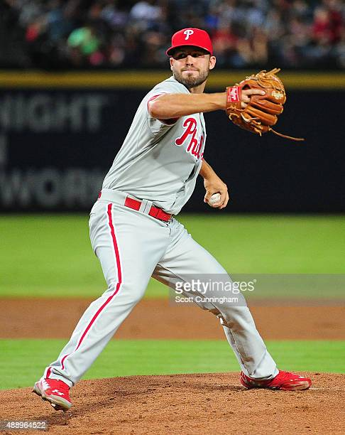 Adam Morgan of the Philadelphia Phillies throws a third inning pitch against the Atlanta Braves at Turner Field on September 18 2015 in Atlanta...