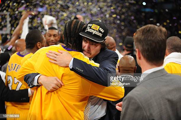 Adam Morrison and Josh Powell of the Los Angeles Lakers celebrate their team's victory over the Boston Celtics in Game Seven of the 2010 NBA Finals...