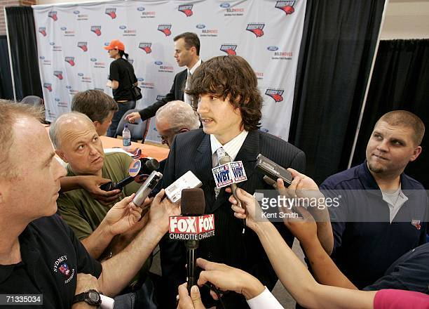 Adam Morrison meets the press after his press conference on June 29 2006 at the Charlotte Bobcats Arena in Charlotte North Carolina NOTE TO USER User...