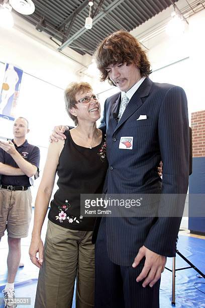 Adam Morrison meets the press during the his Press Conference and then spends time with his mother Wanda Morrison afterwards on June 29 2006 at the...