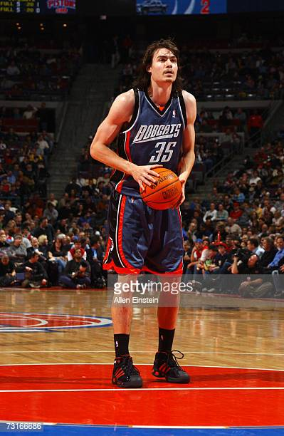 Adam Morrison of the Charlotte Bobcats shoots a free throw against the Detroit Pistons during the game at The Palace of Auburn Hills on January 10...
