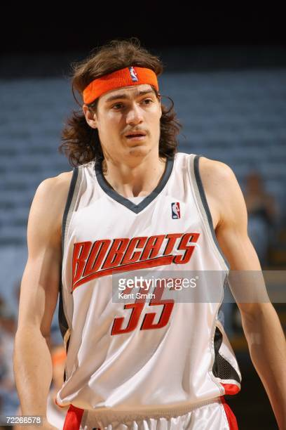 Adam Morrison of the Charlotte Bobcats stands on the court during the preseason game against of the Washington Wizards on October 17 2006 at the Dean...