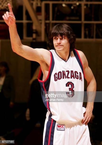 Adam Morrison of the Gonzaga Bulldogs celebrates his teams' 9080 win against the Indiana Hoosiers during the Second Round of the 2006 NCAA Men's...