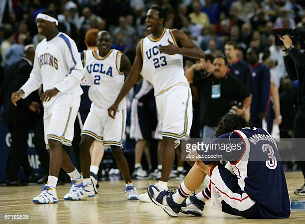 Adam Morrison of the Gonzaga Bulldogs hangs his head after losing to the UCLA Bruins during the third round game of the NCAA Division I Men's...