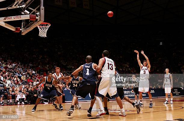 Adam Morrison of the Gonzaga Bulldogs shoots a free throw attempt against the Xavier Musketeers during the First Round of the 2006 NCAA Men's...