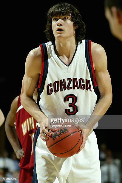 Adam Morrison of the Gonzaga Bulldogs shoots a free throw during the game with the Winthrop Eagles in the first round of the NCAA Men's Basketball...