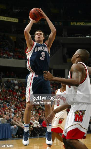 Adam Morrison of the Gonzaga Bulldogs shoots a jumper during the game against the Maryland Terrapins in the BBT Classic at the MCI Center on December...