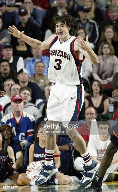 Adam Morrison of the Gonzaga Bulldogs stands on the court during the game with the Oklahoma State Cowboys at Key Arena on December 10, 2005 in...