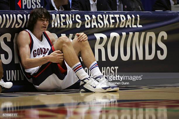 Adam Morrison of the Gonzaga University Bulldogs waits to enter the game against the Texas Tech University Red Raiders during the second round of the...