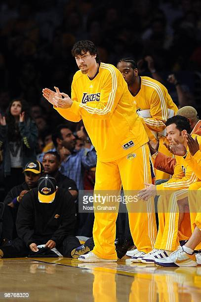 Adam Morrison of the Los Angeles Lakers cheers on the team from the bench in Game Five of the Western Conference Quarterfinals against the Oklahoma...