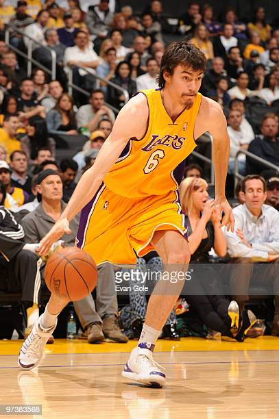 Adam Morrison of the Los Angeles Lakers dribbles during a game against the Indiana Pacers at Staples Center on March 2 2010 in Los Angeles California...