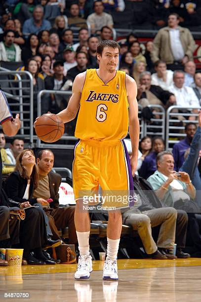 Adam Morrison of the Los Angeles Lakers dribbles the ball up the court during a game against the Atlanta Hawks at Staples Center on February 17 2009...