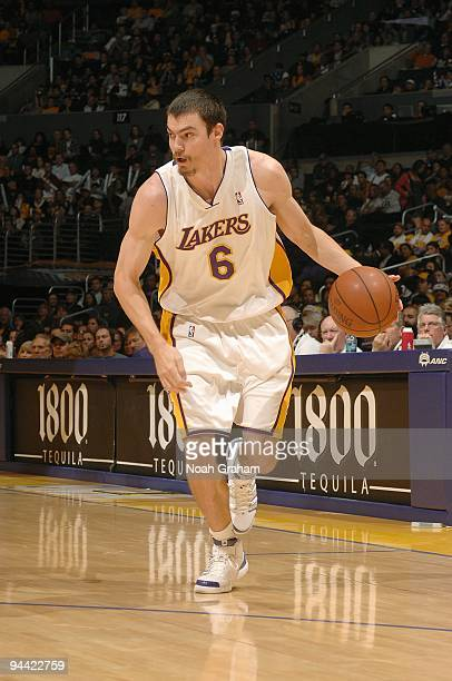 Adam Morrison of the Los Angeles Lakers drives the ball to the basket during the game against the New Jersey Nets on November 29 2009 at Staples...