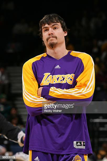 Adam Morrison of the Los Angeles Lakers looks on during the game against the Golden State Warriors at Oracle Arena on March 15 2010 in Oakland...