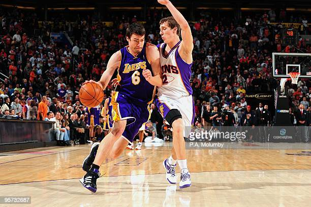 618712b68 Adam Morrison of the Los Angeles Lakers moves the ball against Goran Dragic  of the Phoenix
