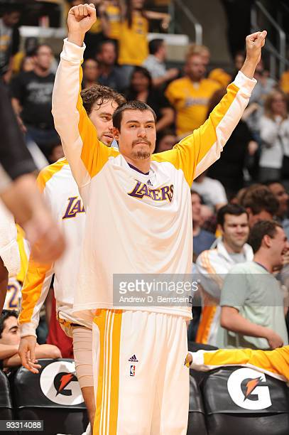 Adam Morrison of the Los Angeles Lakers reacts during a game against the Oklahoma City Thunder at Staples Center on November 22 2009 in Los Angeles...