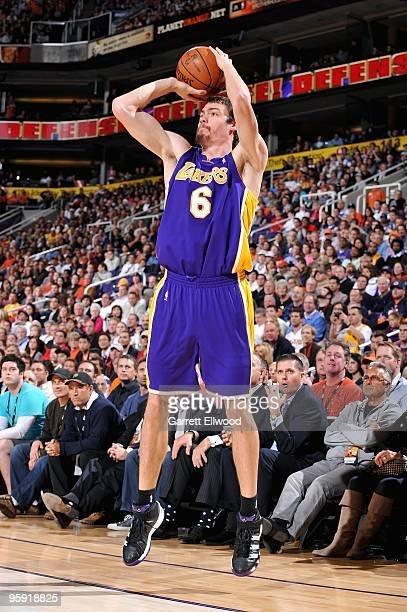 Adam Morrison of the Los Angeles Lakers shoots during the game against the Phoenix Suns on December 28 2009 at US Airways Center in Phoenix Arizona...
