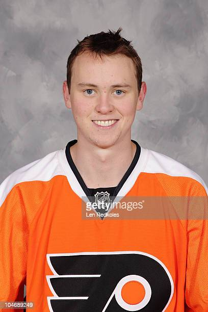 Adam Morrison of the Philadelphia Flyers poses for his official headshot for the 20102011 NHL season at the Virtua Center Flyers Skate Zone July 7...
