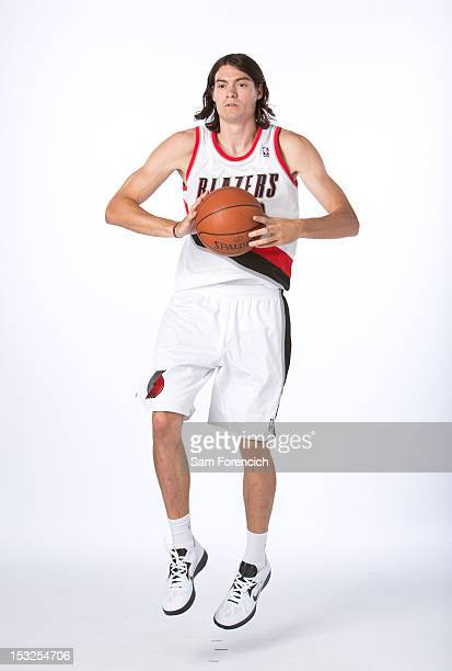 Adam Morrison of the Portland Trail Blazers pose for a portrait during Portland Trail Blazers Media Day on October 1 2012 at the Rose Garden Arena in...