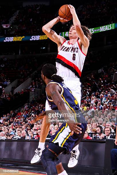 Adam Morrison of the Portland Trail Blazers shoots against the Utah Jazz during a preseason game on October 22 2012 at the Rose Garden Arena in...