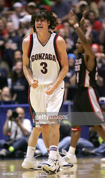 Adam Morrison of the Texas Tech Red Raiders reacts after scoring over the Gonzaga Bulldogs during the second half of the second round of the NCAA...