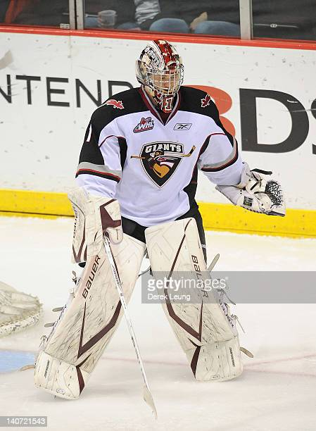 Adam Morrison of the Vancouver Giants skates against the Medicine Hat Tigers in WHL action on March 1 2012 at Pacific Coliseum in Vancouver British...