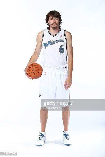 Adam Morrison of the Washington Wizards poses for a portrait during 2010 NBA Media Day at the Verizon Center on September 27 2010 in Washington DC...