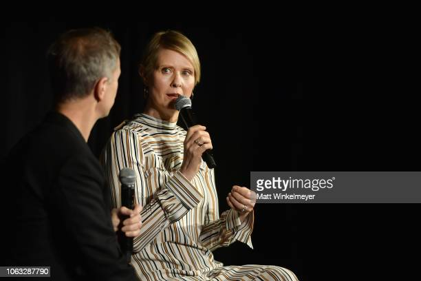 Adam Moss and Cynthia Nixon speak onstage during 'Cynthia Nixon In Conversation' during Vulture Festival Presented By ATT at Hollywood Roosevelt...