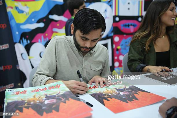Adam Muto attends the Cartoon Network Adventure Time autograph signing Cartoon Network at New York Comic Con 2015 at the Jacob Javitz Center on...