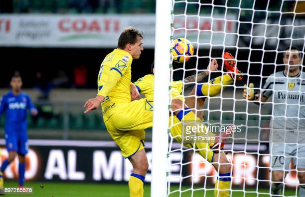 Adam Nagy of AC Chievo Verona saves a shot during the serie A match between AC Chievo Verona and Bologna FC at Stadio Marc'Antonio Bentegodi on...