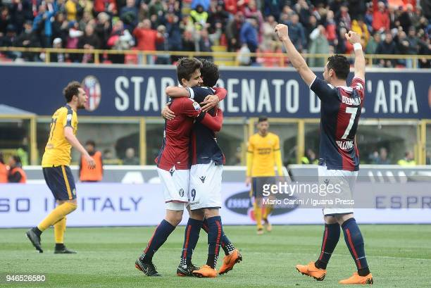 Adam Nagy of Bologna FC celebrates after scoring his team's second goal during the serie A match between Bologna FC and Hellas Verona FC at Stadio...