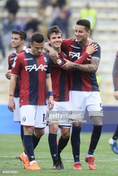 Adam Nagy of Bologna FC celebrates at the end of the serie A match between Bologna FC and Hellas Verona FC at Stadio Renato Dall'Ara on April 15 2018...