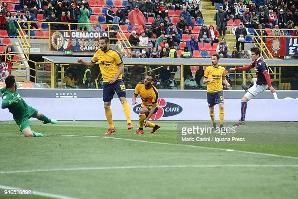 Adam Nagy of Bologna FC scores his team's second goal during the serie A match between Bologna FC and Hellas Verona FC at Stadio Renato Dall'Ara on...