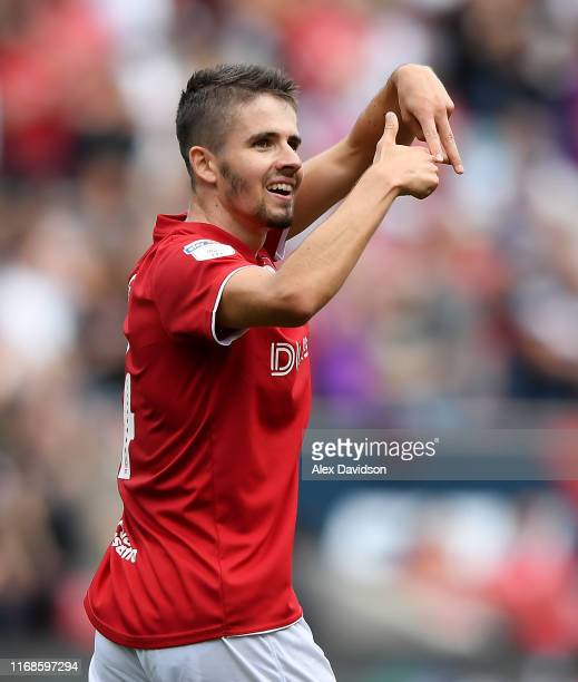 Adam Nagy of Bristol City celebrates scoring his sides first goal during the Sky Bet Championship match between Bristol City and Queens Park Rangers...