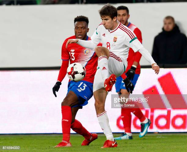 Adam Nagy of Hungary controls the ball before Rodney Wallace of Costa Rica during the at Groupama Arena on November 14 2017 in Budapest Hungary