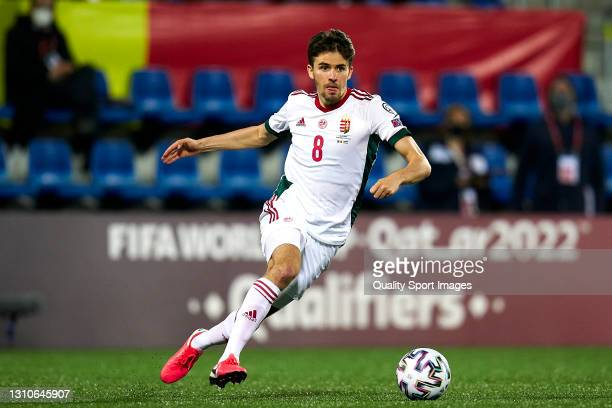 Adam Nagy of Hungary controls the ball during the FIFA World Cup 2022 Qatar qualifying Group I match between Andorra and Hungary on March 31, at...