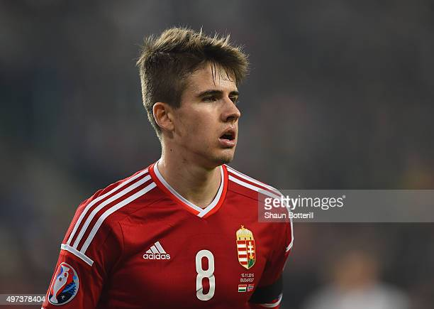 Adam Nagy of Hungary during the UEFA EURO 2016 qualifier playoff second leg match between Hungary and Norway at Groupama Arena on November 15 2015 in...