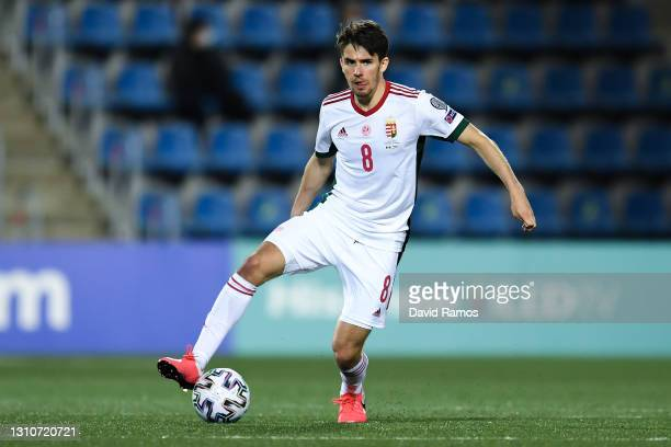 Adam Nagy of Hungary runs with the ball during the FIFA World Cup 2022 Qatar qualifying match between Andorra and Hungary at Estadi Nacional on March...