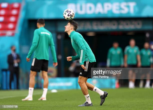 Adam Nagy warms up during the Hungary Training Session ahead of the Euro 2020 Group F match between Hungary and Portugal at Puskas Arena on June 14,...