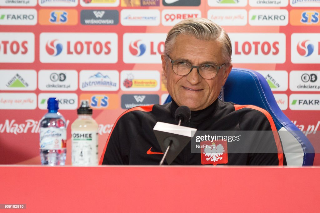 Adam Nawalka attends during press conference before friendly match Poland and Chile in Poznan, Poland, on 7 June 2018.