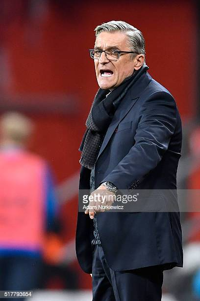 Adam Nawalka head coach and trainer of Poland gestures during the international friendly soccer match between Poland and Finland at the Municipal...