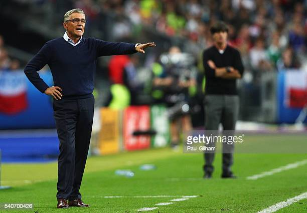 Adam Nawalka head coach of Poland gestures during the UEFA EURO 2016 Group C match between Germany and Poland at Stade de France on June 16 2016 in...