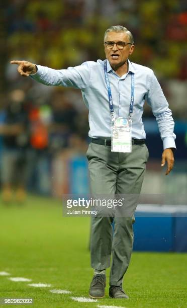 Adam Nawalka Head coach of Poland gives his team instructions during the 2018 FIFA World Cup Russia group H match between Poland and Colombia at...
